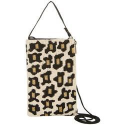 Leopard Beaded Crossbody Handbag