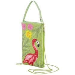 Bamboo Trading Co. Pink Flamingo Crossbody Handbag