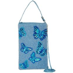 Bamboo Trading Co. Butterflies Embellished Crossbody Handbag