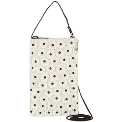 Bamboo Trading Co. White Flowers Crossbody Handbag