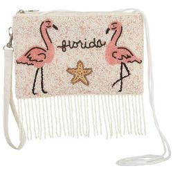 Bamboo Trading Co. Flamingo Beaded Crossbody Handbag