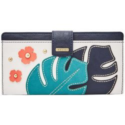 RELIC by Fossil Embellished Palm Leaf RFID Checkbook Wallet
