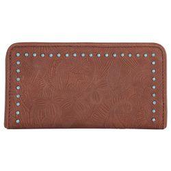 Sakroots Embossed Brown Tess Slim Wallet