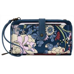 Sakroots Large Smartphone Denim Flower Crossbody Handbag