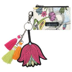 Sakroots White Peace Dove Flower Keychain Wallet