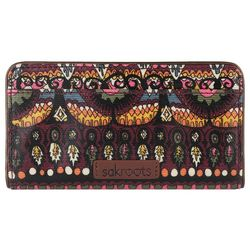 Sakroots Embroidered Mulberry Wild Elephant Slim Wallet