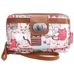 Cat Print Turn Lock Crossbody Handbag