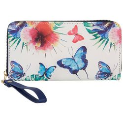 Coral Bay Butterfly & Floral Zipper Wristlet Wallet