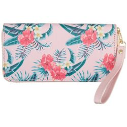 Coral Bay Tropical Floral Zipper Wristlet Wallet