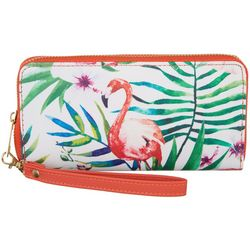 Coral Bay Pink Flamingo Zipper Wrislet Wallet