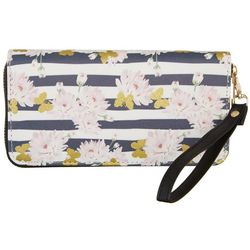 Coral Bay Striped Floral Zipper Wristlet Wallet