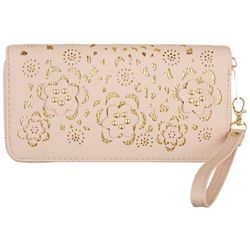 Coral Bay Floral Cutout Zipper Wristlet Wallet