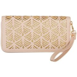 Coral Bay Two Tone Cutout Zipper Wristlet Wallet