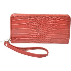 Coral Bay Faux Croco Texture Zipper Wrislet Wallet