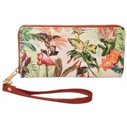 Coral Bay Tropical Floral & Flamingo Zipper Wrislet Wallet