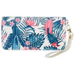 Coral Bay Tropical Bird Print Zipper Wristlet Wallet
