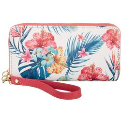 Coral Bay Tropical Hibiscus Zipper Wristlet Wallet