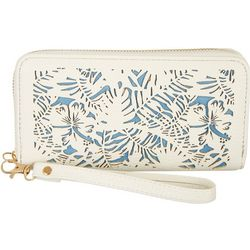Coral Bay Two Tone Tropical Cutout Zipper Wristlet Wallet