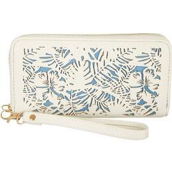 Two Tone Tropical Cutout Zipper Wristlet Wallet