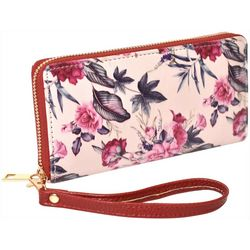 Coral Bay Pink Flowers Zipper Wrislet Wallet