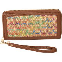 Colorful Raffia Zipper Wristlet Wallet