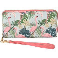 Coral Bay Pink Flamingo Tropical Zipper Wristlet Wallet