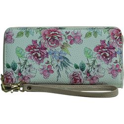 Coral Bay Watecolor Floral Tropical Zipper Wristlet Wallet