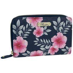 Buxton Hibiscus Print Medium Zip Around Wallet