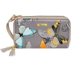 Butterfly Print ID Crossbody Wallet