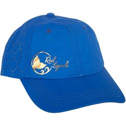 Reel Legends Womens Gold Tone Logo Blue Baseball Hat