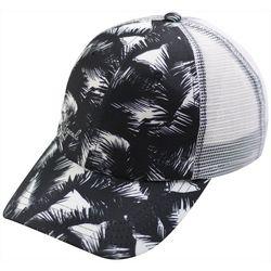 Reel Legends Womens Black & White Fronds Trucker Hat