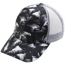 Womens Black & White Fronds Trucker Hat