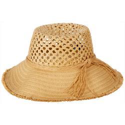 Womens Crocheted Straw Bucket Toyo Hat
