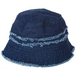 Steve Madden Womens Frayed Accent Denim Bucket Hat