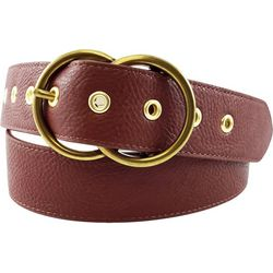 Womens Double Ring Buckle Perforated Belt