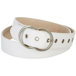 Womens Double Round Buckle Perforated Belt