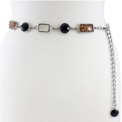 Bay Studio Womens Leopard Print Chain Belt