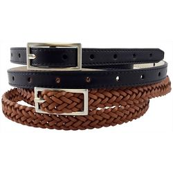 Womens 2-pc. Perforated & Braided Belt Set