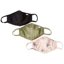 3-Pc Solid & Rose  Reusable Face Mask Set