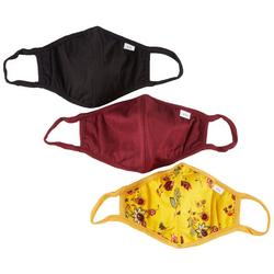3-Pc Solid & Rose Print Reusable Face Masks