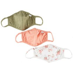 3-Pc Solid & Floral Reusable Face Mask Set