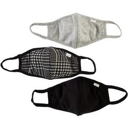 3-Pc Solid & Houndstooth Reusable Face Mask Set