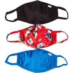 Fairhaven 3-Pc Solid & Floral Print Reusable Face Masks