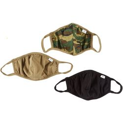 3-Pc Camo And Solid Reusable Face Masks