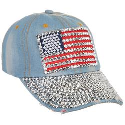 Womens Studded Denim Flag Adjustable Cap