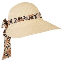 Lulu Womens Snake Print Scarf Trim Sun Hat