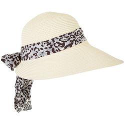 Lulu Womens Leopard Print Scarf Trim Sun Hat