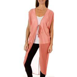 Womens Tie Front Tassel Kimono