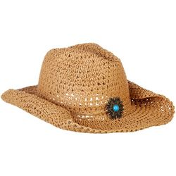 Mad Hatter Womens Crochet Straw Cowboy Hat