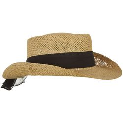 Madd Hatter Womens Black Scarf Straw Hat